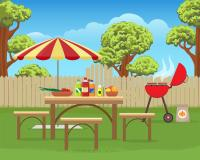 Summer backyard fun bbq stock vector. Illustration of ...