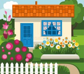 Summer House Garden Flowers Lawn Stock Vector Illustration of house fence: 55614545