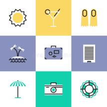 Summer Vacation Pictogram Icons Set Stock Vector