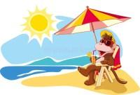 Summer Vacation By The Sea, Cartoon Illustration Stock ...