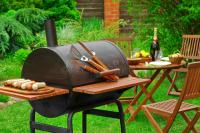 Summer Weekend BBQ Scene With Charcoal Grill On The ...