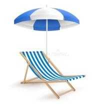 Sun Beach Umbrella With Beach Chair On White Stock Vector