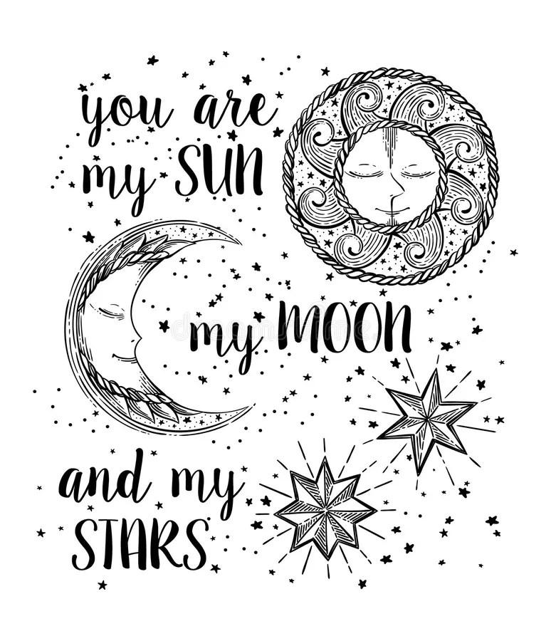 Sun, Moon and Stars stock vector. Illustration of
