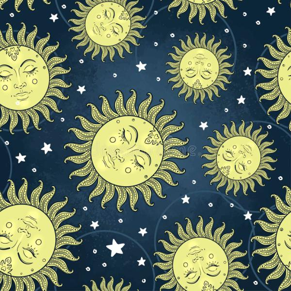 Sun And Moon Vector Seamless Pattern With Stars. Vintage