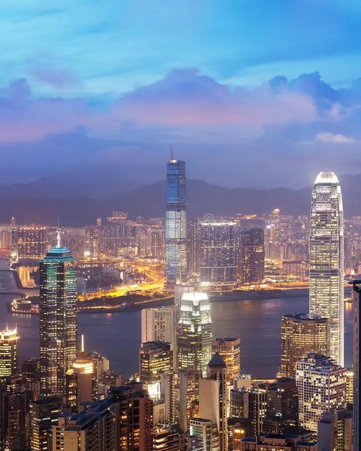 Sunset View Of Victoria Harbor. Hong Kong. China Stock Image - Image of financial. island: 10691719