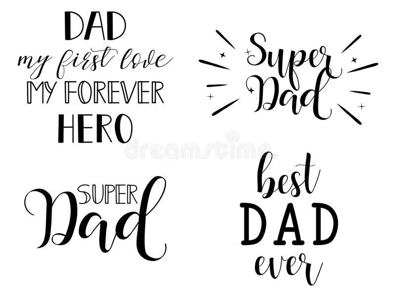 Set Of Happy Father's Day Greeting Cards. Happy Fathers