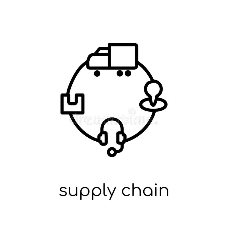 Linear Supply Chain Icon From Delivery And Logistic