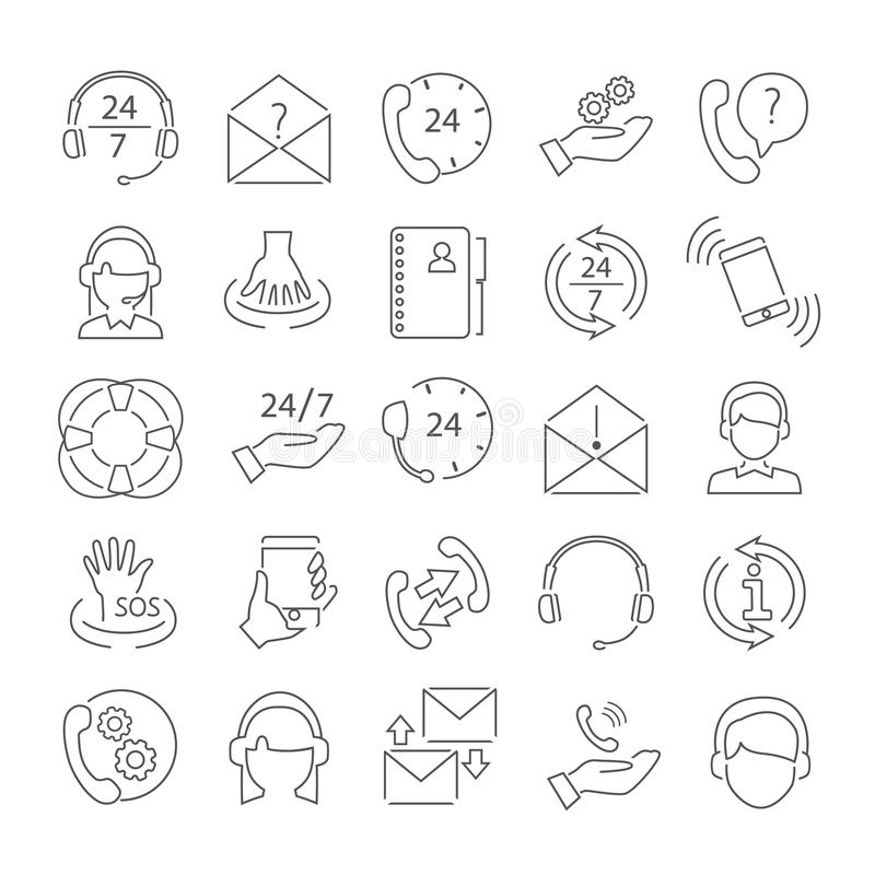 Support icons set stock vector. Illustration of assistance
