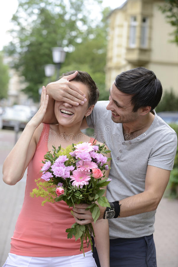 Surprise With Bouquet Of Flowers Stock Photo Image 52759250