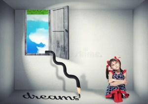 surreal dream woman horse upside down scene concept child face