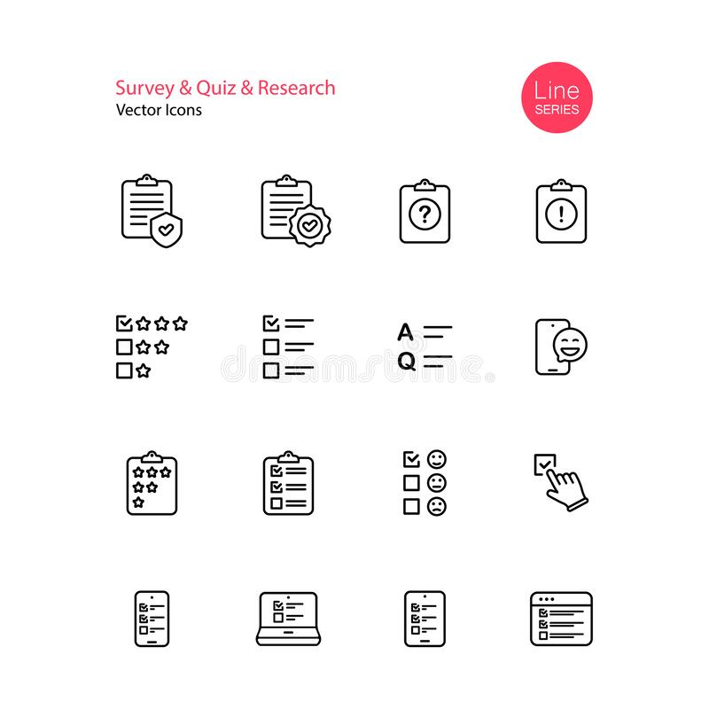 Survey Quiz Research Line Icon Set. Checklist, Quiz