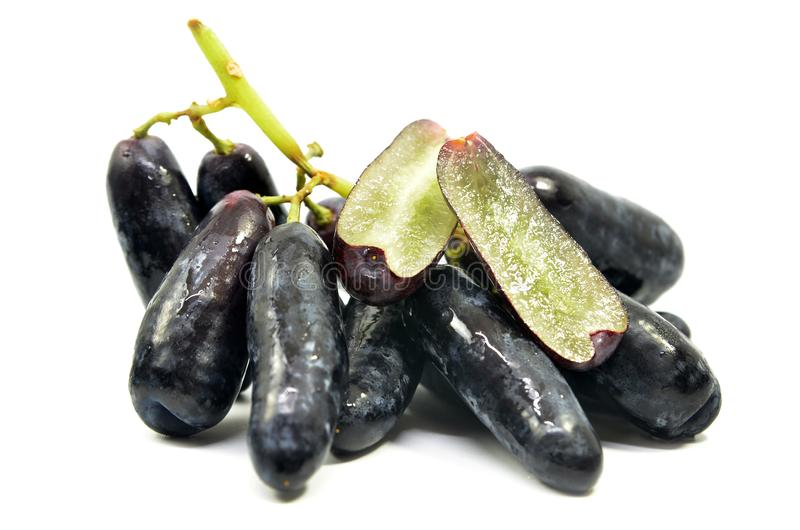 Sweet Black Sapphire Grapes Stock Image - Image of plant ...
