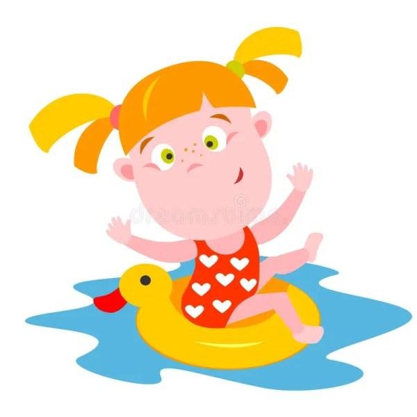 Swimming Girl Stock Vector. Of Cute Child Tube