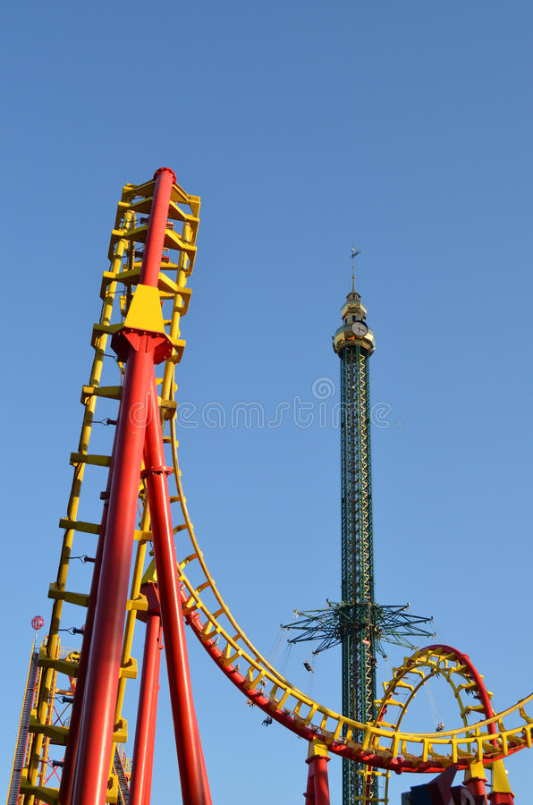 swing chair steel massage design carousel and roller coaster ride at amusement park royalty free stock photos - image: 36675138