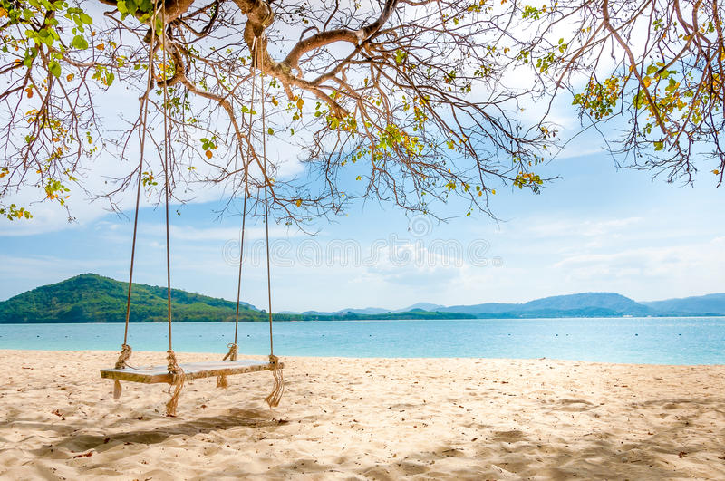 swing chair thailand stand for sale hanging under the tree on beach stock image - of thailand, waves: 53497421