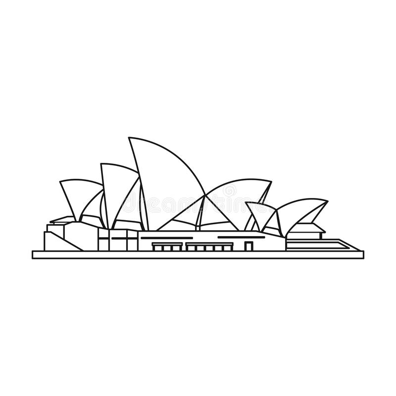 Sydney Opera House Icon In Outline Style Isolated On White