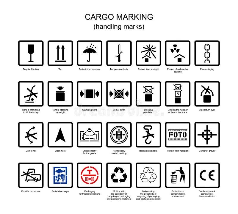 Symbols for cargo marking stock vector. Illustration of