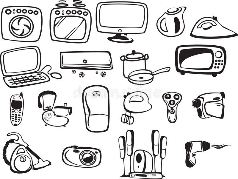 Symbols Of Household Appliances And Electronic Stock