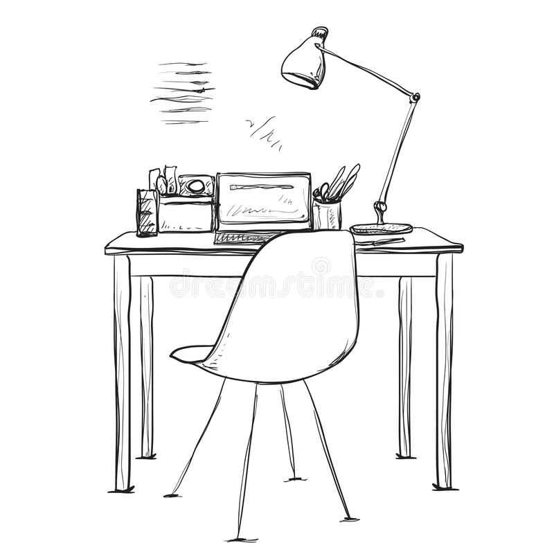 Vector Illustration Doodle Style Table, Workplace Stock