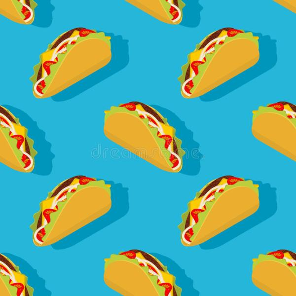 Taco Seamless Pattern. Traditional Mexican Food Background