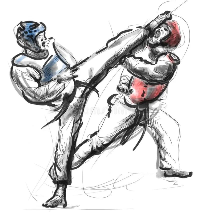 Tae-Kwon Do. An Full Sized Hand Drawn Illustration Stock