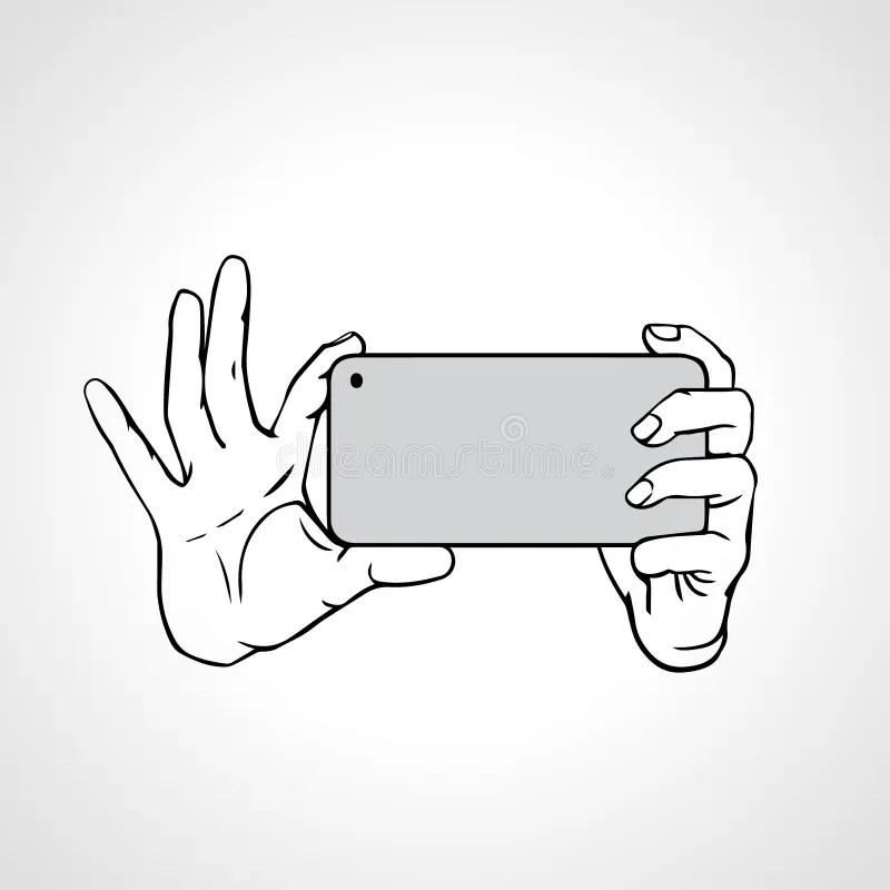Taking Selfie Photo On Smart Phone Concept Stock Vector