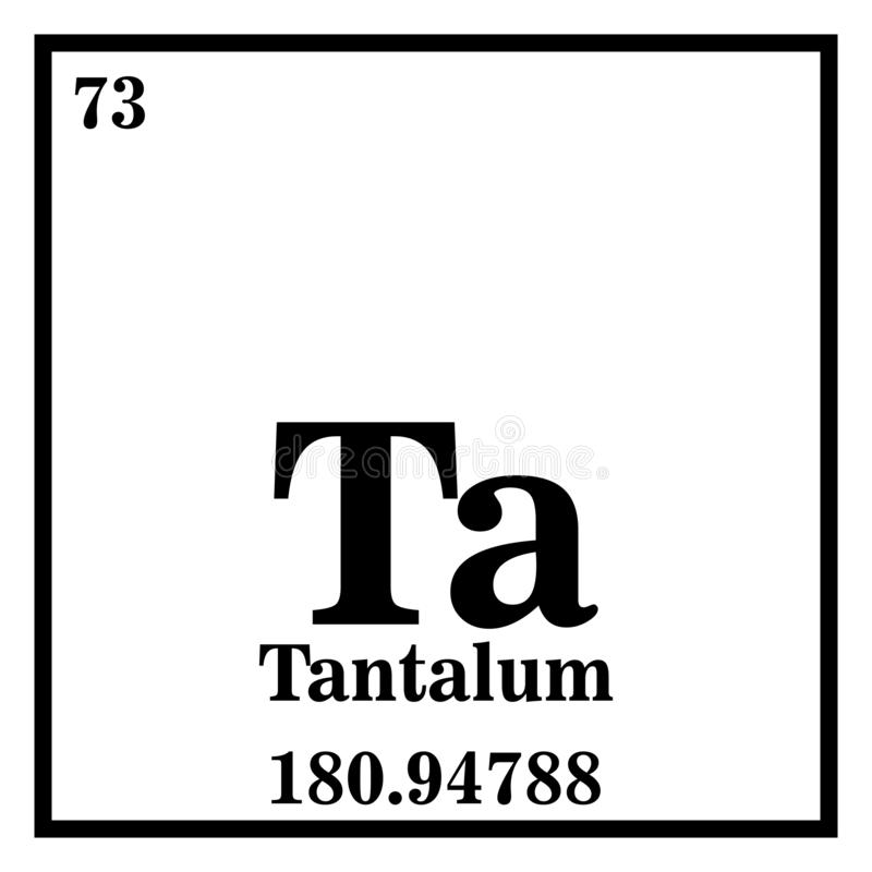 Tantalum Symbol In Square Shape With Metallic Edge In