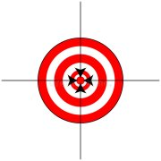 target sign with crosshairs stock