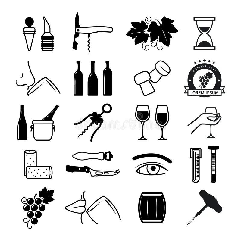 Tasting wine icons stock vector. Illustration of cork