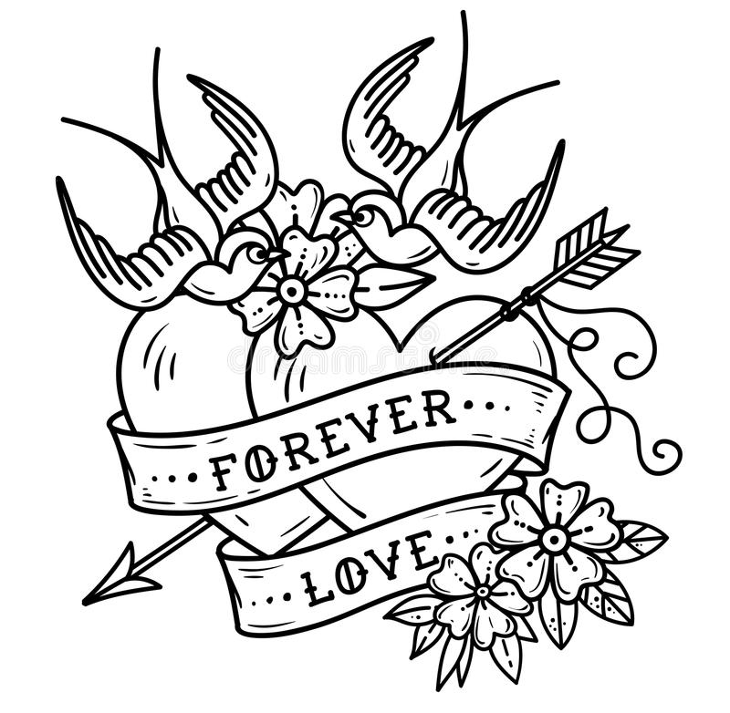 Love Forever Two Hearts Stock Illustrations