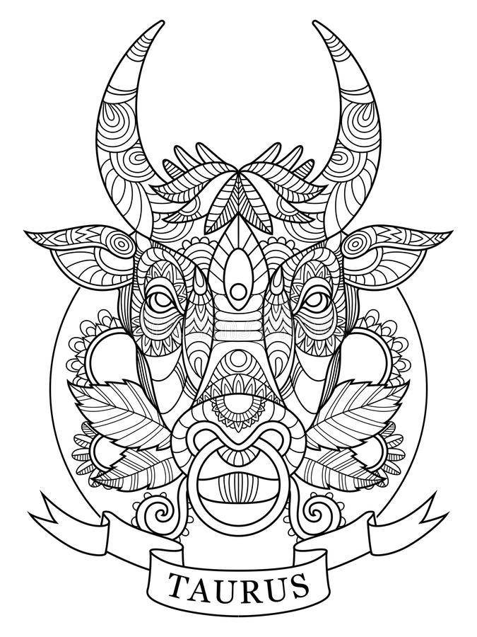 Taurus Mandala 1 White Stock Illustrations