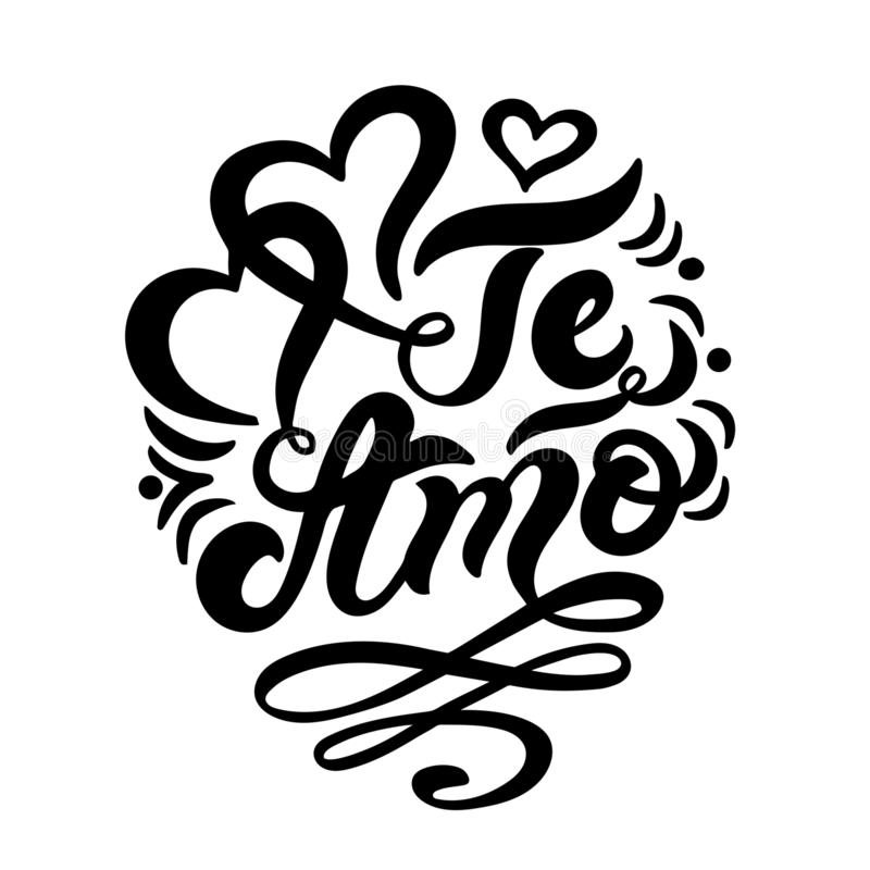 Download Te Amo. `I Love You` In Italian. Hand Drawn Lettering ...