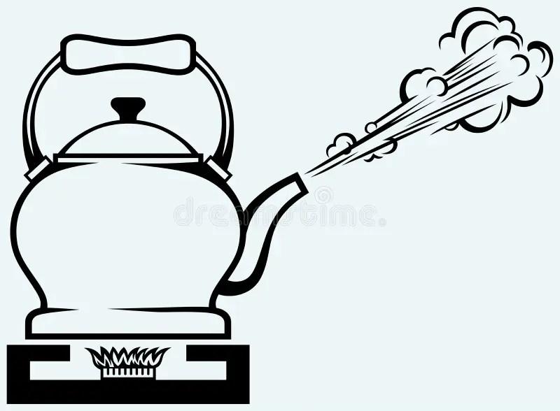 Tea kettle on gas stove stock vector. Illustration of