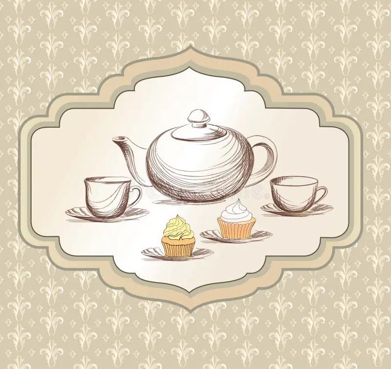 Victorian Tea Pot Party Invitation Stock Vector