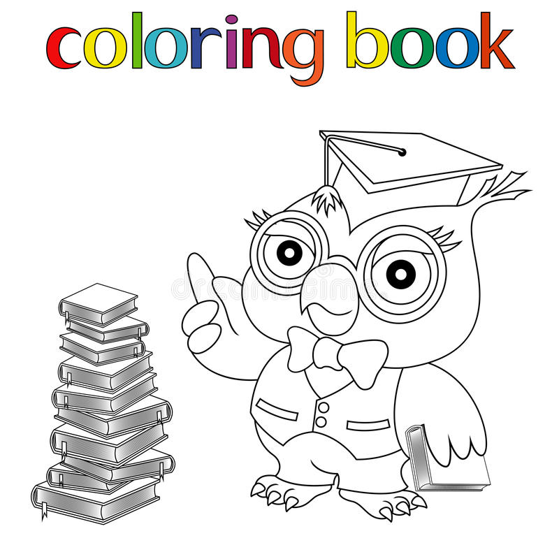 Teacher Owl In Mortarboard For Coloring Book Stock Vector