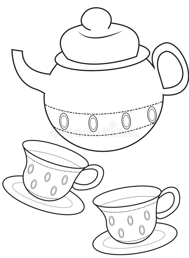 Teacup coloring page stock illustration. Illustration of