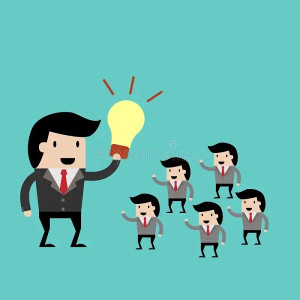 Teamwork With Leader Idea. Cartoon Vector Illustration