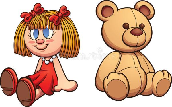 teddy bear and doll stock vector