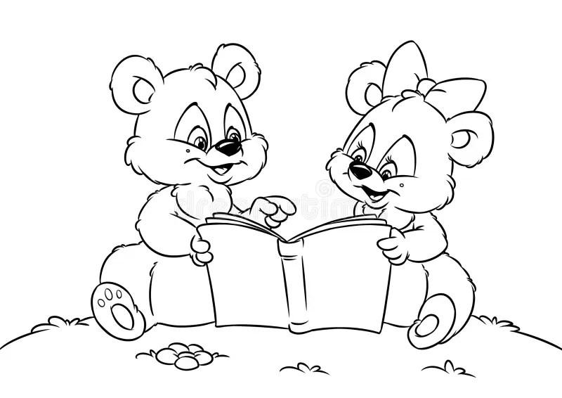 Teddy Bear With Flowers Card Stock Illustration
