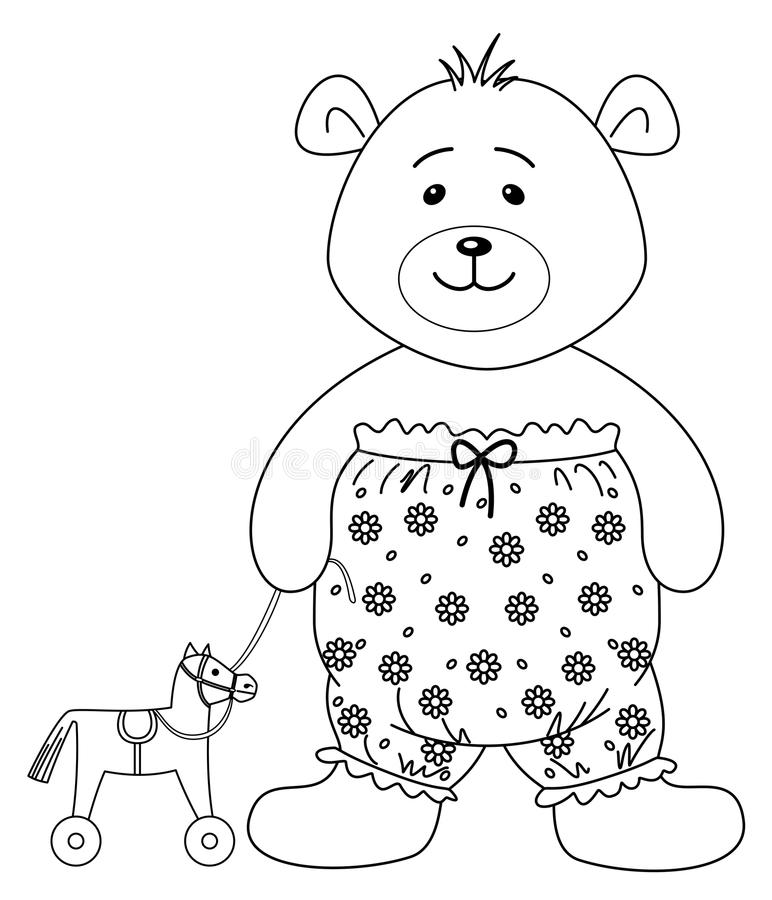 Teddy-bear With A Toy Horsy, Contours Stock Vector