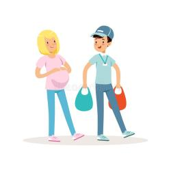 cartoon pregnant woman boy teen shopping helping teenager autism kid experience summer vector volunteer those getting illustration packages working