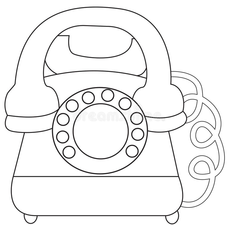 Telephone coloring page stock illustration. Illustration
