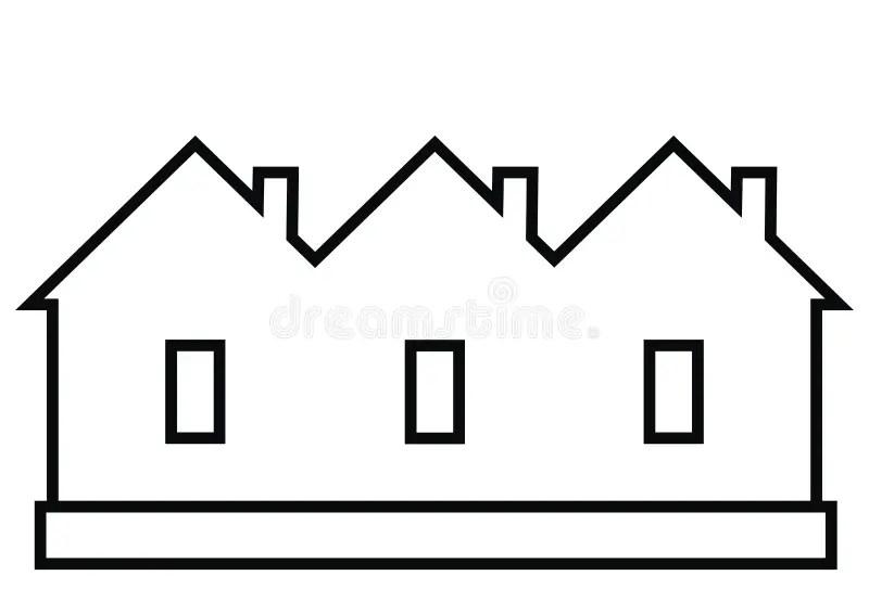 Terraced House, Vector Icon, Black Contour Stock Vector