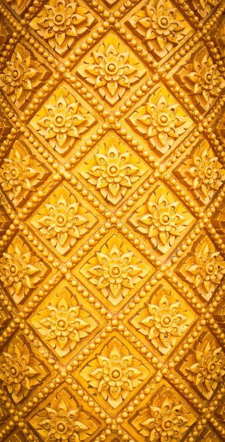 thai style pattern design handcraft on wood royalty free