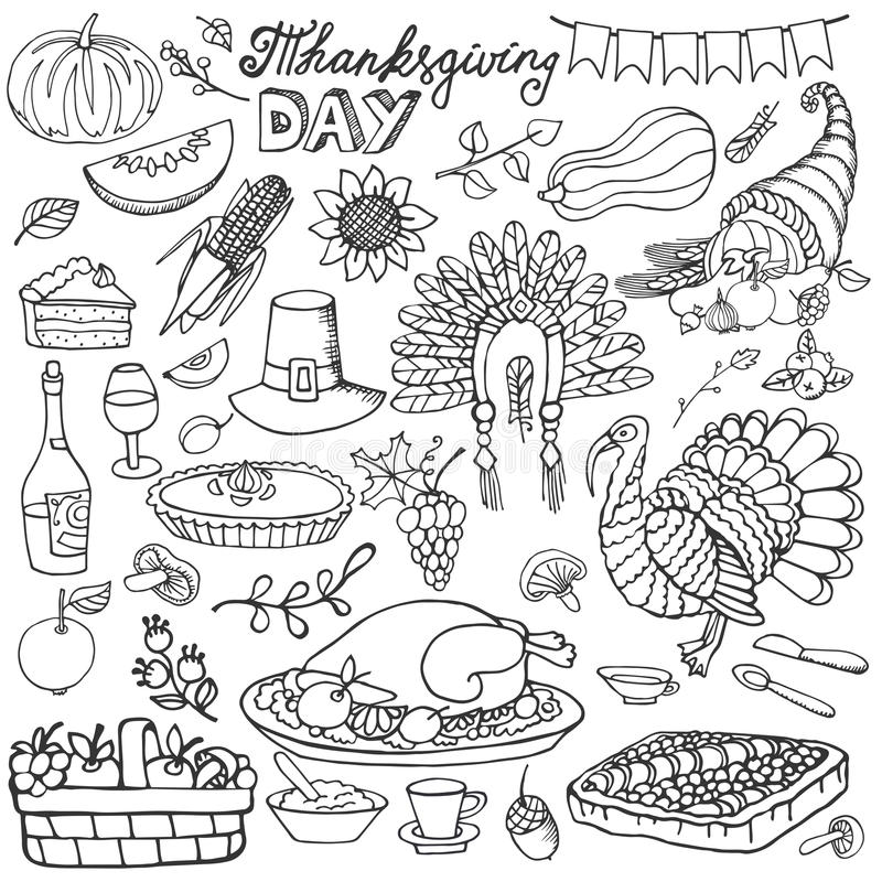 Thanksgiving Day Doodle Icons Linear Set Stock Vector
