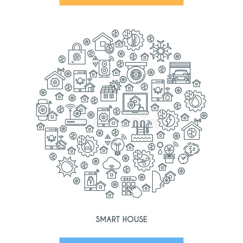 Smart Home Thin Line Icon Set. Automation Control Systems
