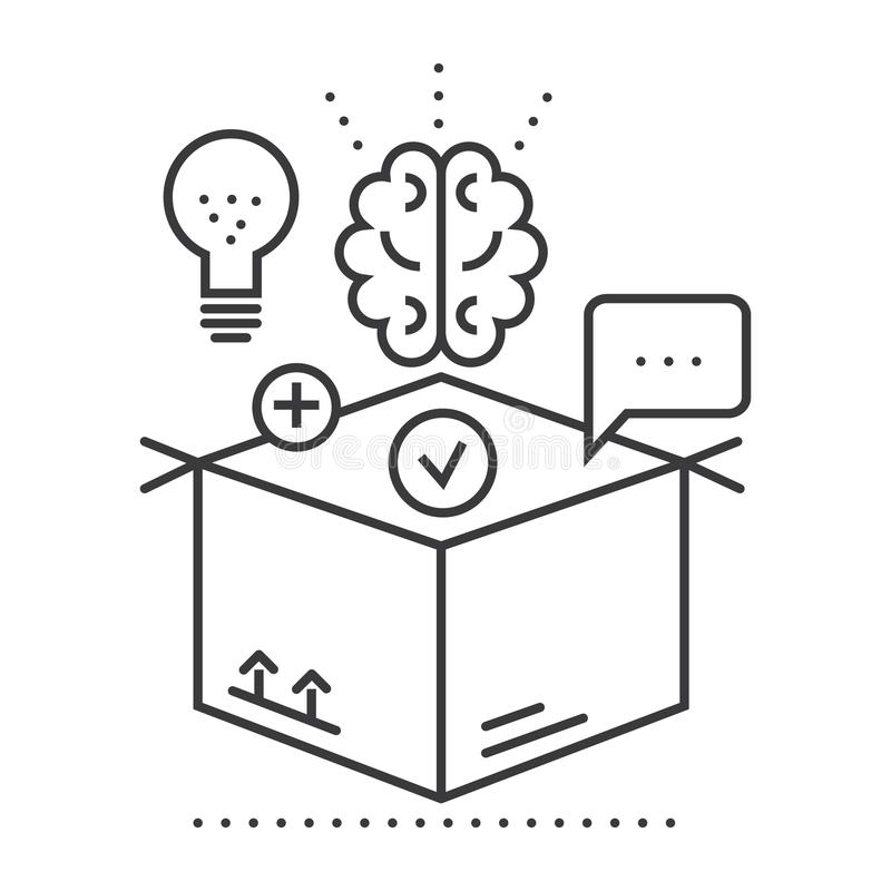 Thinking Outside The Box Concept , Outline Icon, Linear