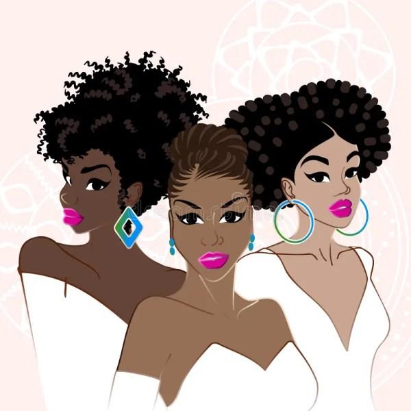 Three Elegant Dark-skinned Women Stock Vector