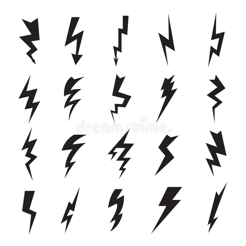 Electrical Symbols. Thunder Flashes Storming Bolt Electric