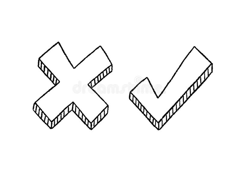 Yes No Check Box With Black Pen Stock Vector
